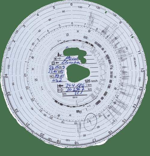 Fahrtenschreiberblatt oder Diagrammscheibe